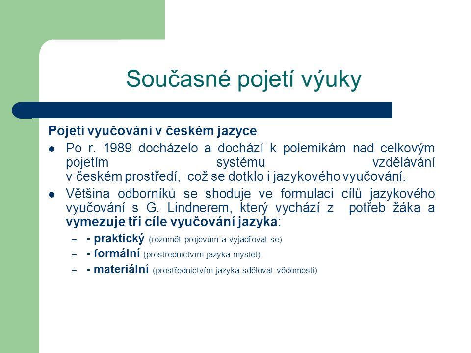 Současné pojetí výuky Pojetí vyučování v českém jazyce