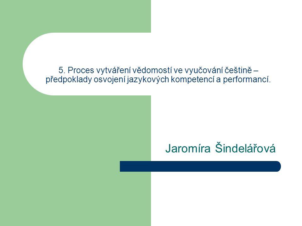 5. Proces vytváření vědomostí ve vyučování češtině – předpoklady osvojení jazykových kompetencí a performancí.