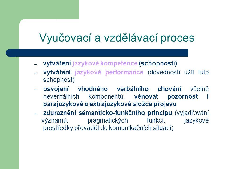 Vyučovací a vzdělávací proces