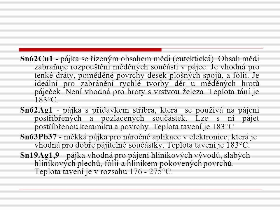 Sn62Cu1 - pájka se řízeným obsahem mědi (eutektická)