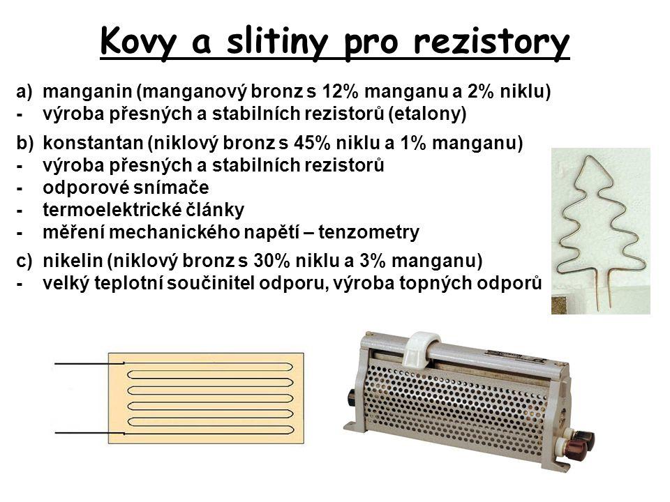 Kovy a slitiny pro rezistory