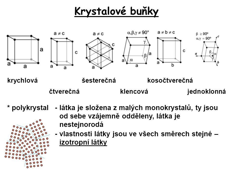 Krystalové buňky krychlová. šesterečná. kosočtverečná. čtverečná. klencová. jednoklonná.