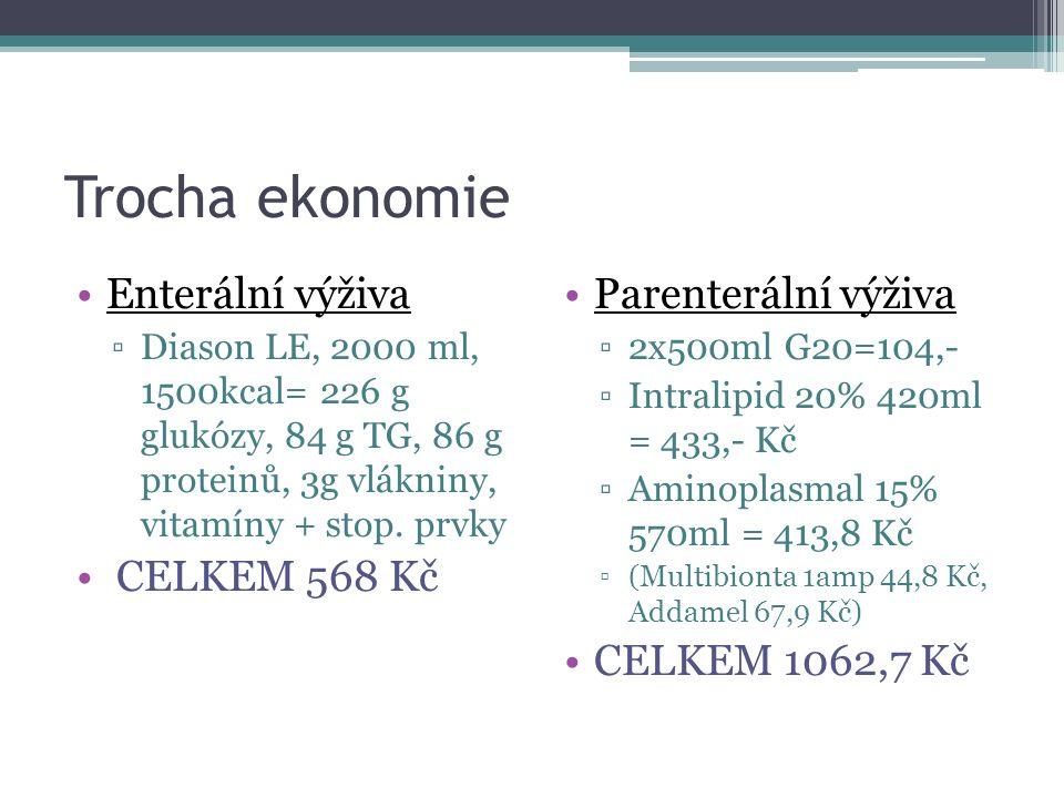 Trocha ekonomie Enterální výživa CELKEM 568 Kč Parenterální výživa