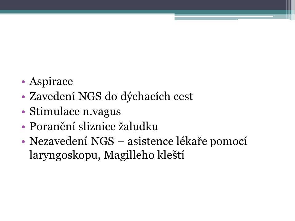 Aspirace Zavedení NGS do dýchacích cest. Stimulace n.vagus. Poranění sliznice žaludku.