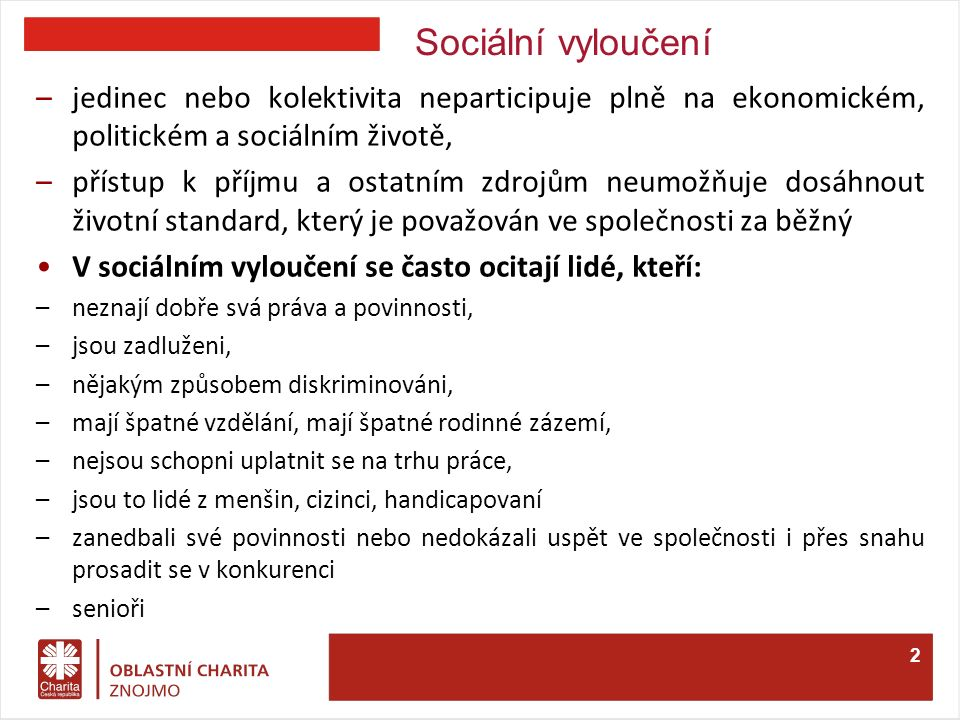Příčiny sociálního vyloučení