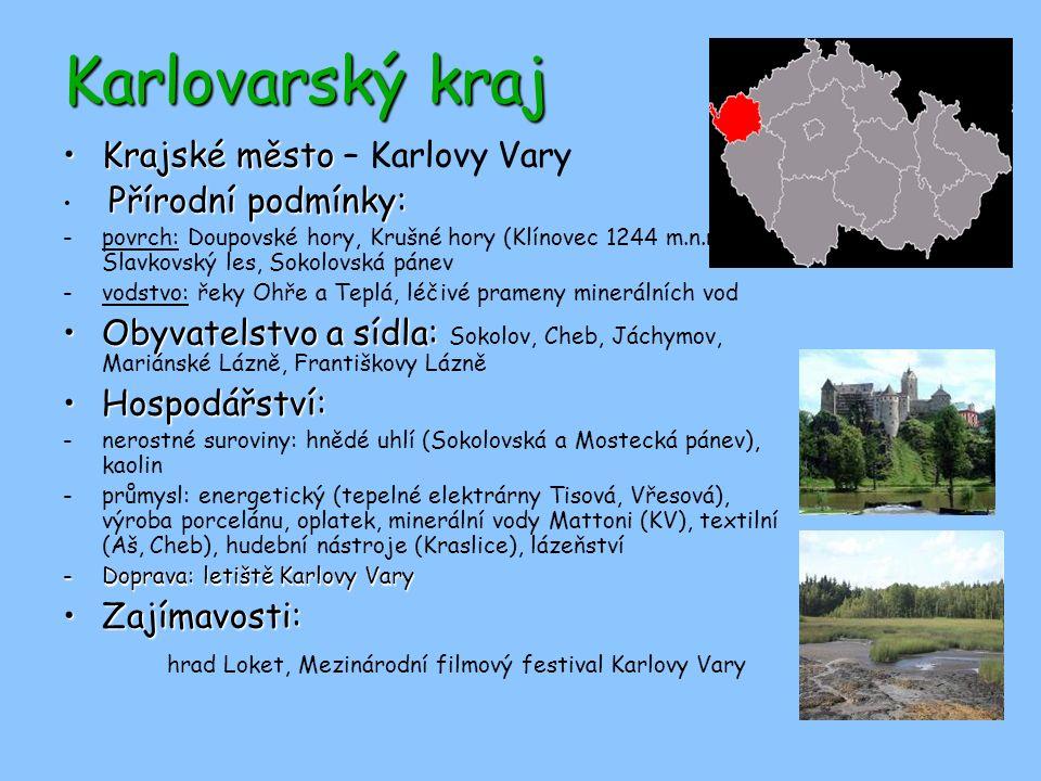 Karlovarský kraj Krajské město – Karlovy Vary