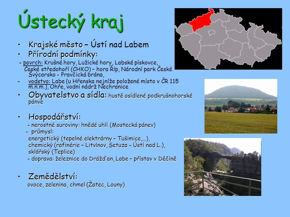 Ústecký kraj Krajské město – Ústí nad Labem Přírodní podmínky: