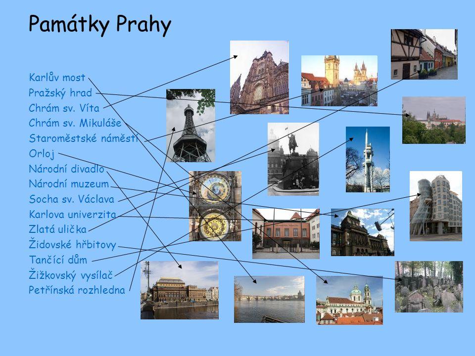 Památky Prahy Karlův most Pražský hrad Chrám sv. Víta