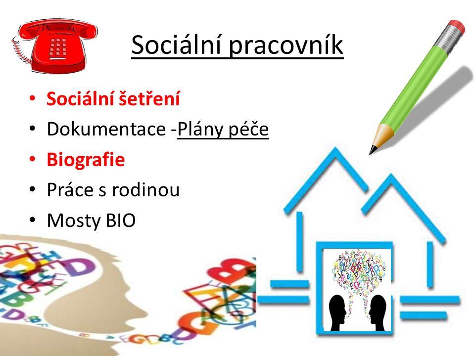 Sociální pracovník Sociální šetření Dokumentace -Plány péče Biografie