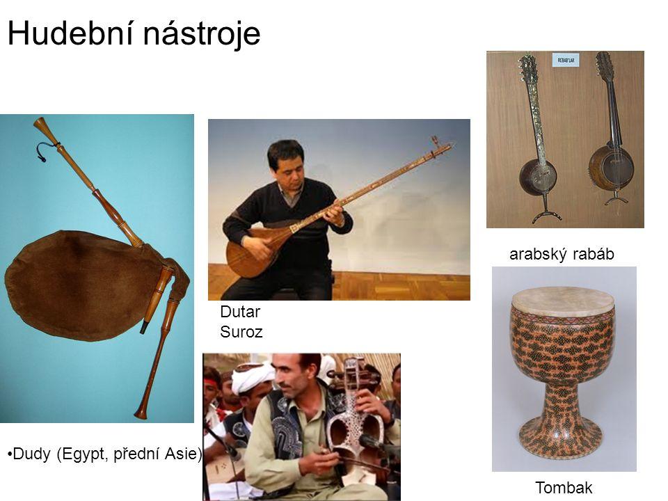 Hudební nástroje arabský rabáb Dutar Suroz Dudy (Egypt, přední Asie)
