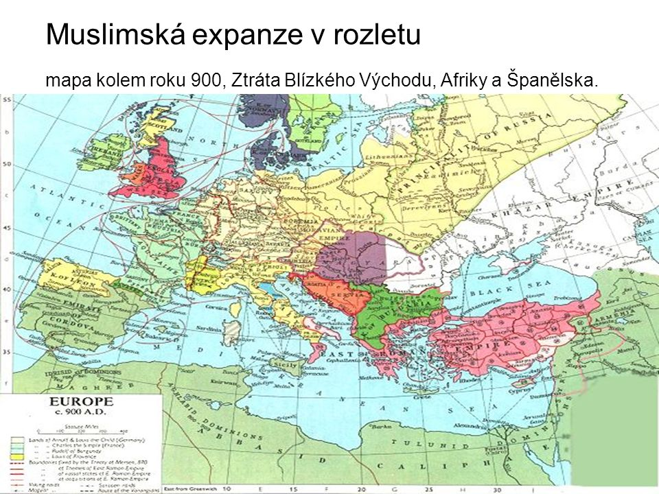Muslimská expanze v rozletu mapa kolem roku 900, Ztráta Blízkého Východu, Afriky a Španělska.