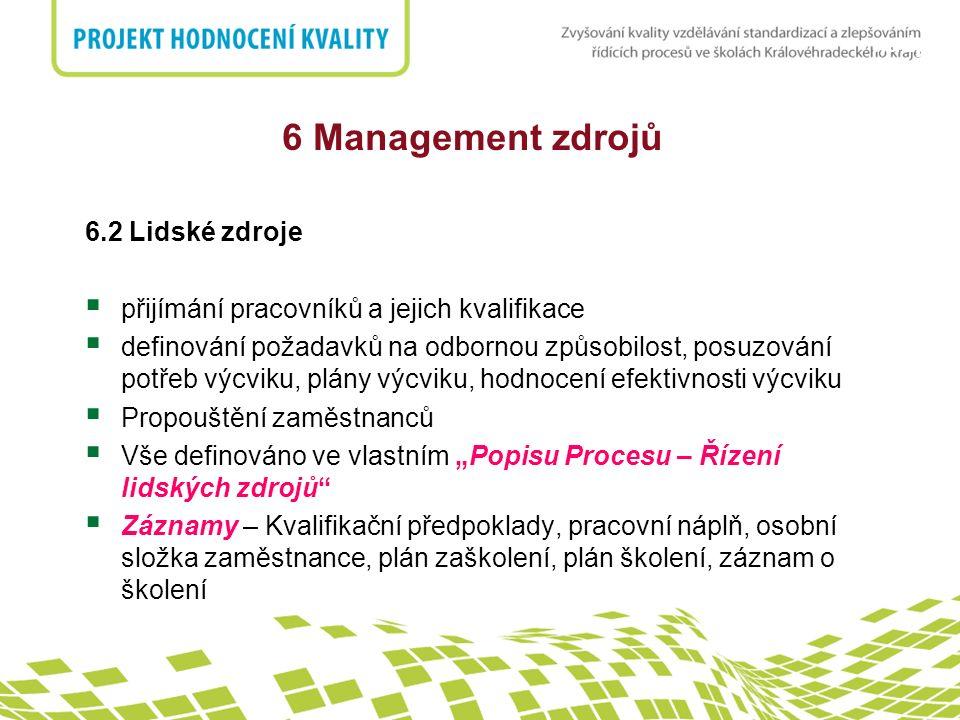 6 Management zdrojů 6.2 Lidské zdroje