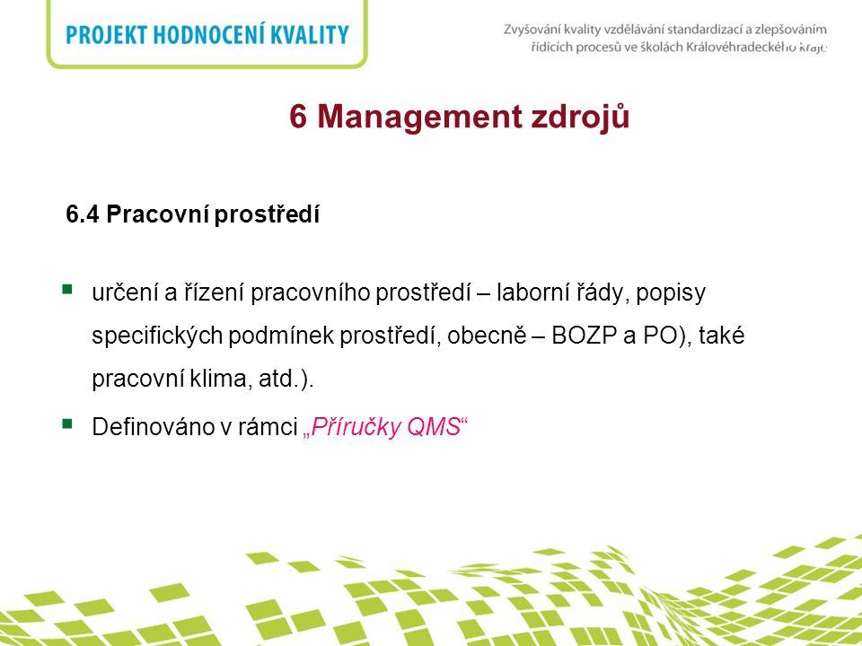 6 Management zdrojů 6.4 Pracovní prostředí