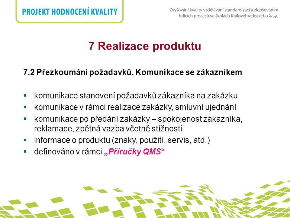 7 Realizace produktu 7.2 Přezkoumání požadavků, Komunikace se zákazníkem. komunikace stanovení požadavků zákazníka na zakázku.