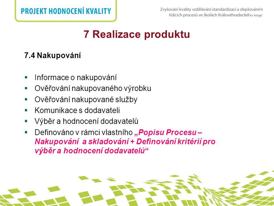 7 Realizace produktu 7.4 Nakupování Informace o nakupování