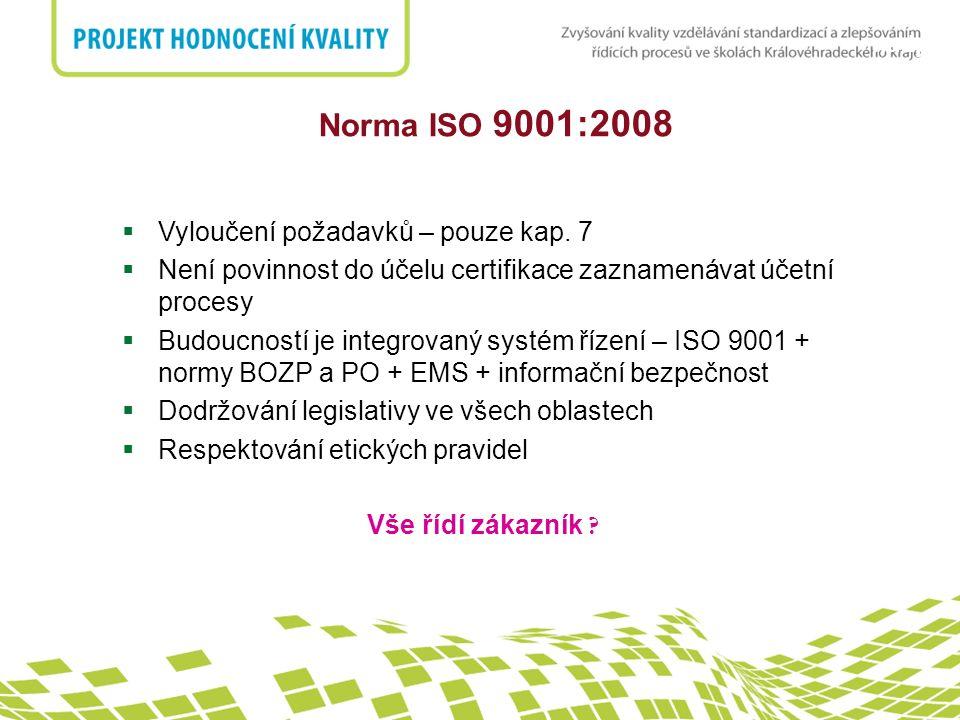 Norma ISO 9001:2008 Vyloučení požadavků – pouze kap. 7