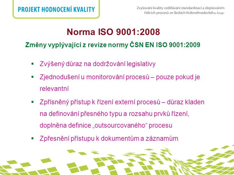 Norma ISO 9001:2008 Změny vyplývající z revize normy ČSN EN ISO 9001:2009. Zvýšený důraz na dodržování legislativy.