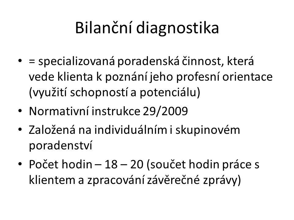 Bilanční diagnostika = specializovaná poradenská činnost, která vede klienta k poznání jeho profesní orientace (využití schopností a potenciálu)