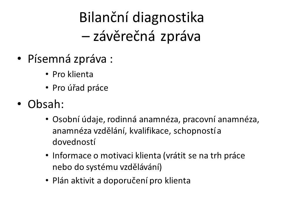 Bilanční diagnostika – závěrečná zpráva