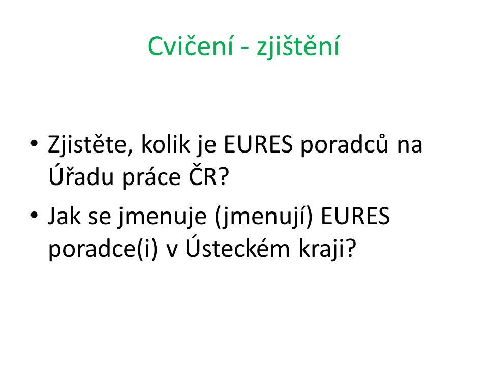 Cvičení - zjištění Zjistěte, kolik je EURES poradců na Úřadu práce ČR