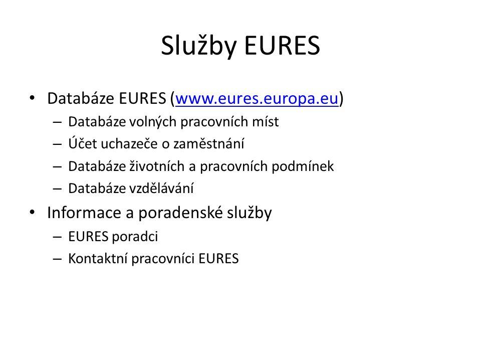 Služby EURES Databáze EURES (www.eures.europa.eu)