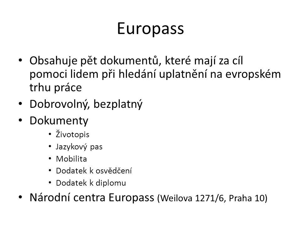 Europass Obsahuje pět dokumentů, které mají za cíl pomoci lidem při hledání uplatnění na evropském trhu práce.