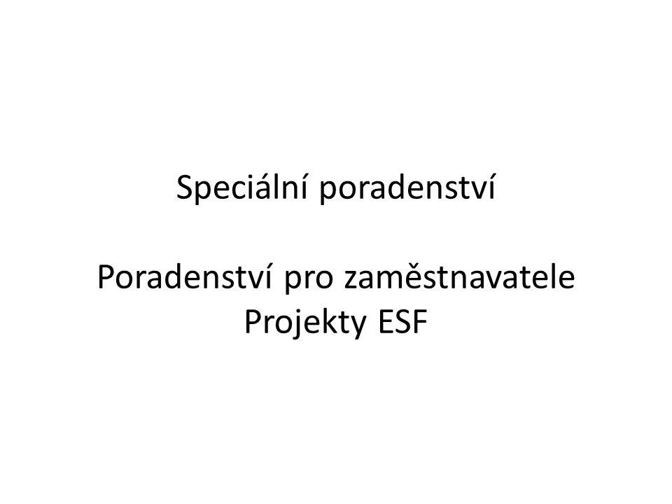 Speciální poradenství Poradenství pro zaměstnavatele Projekty ESF