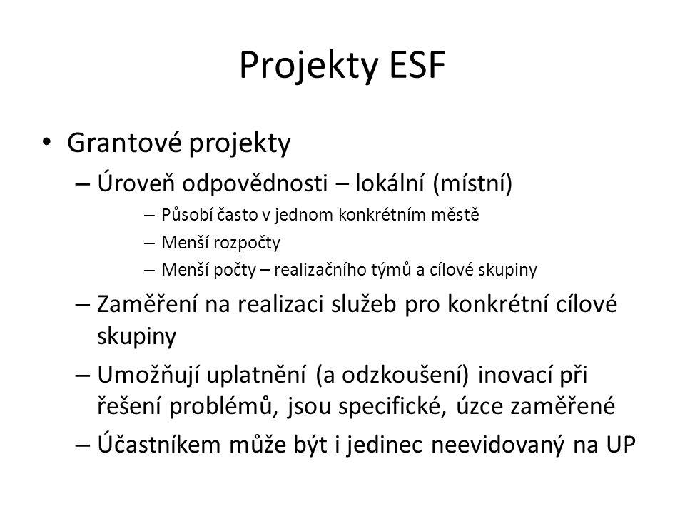 Projekty ESF Grantové projekty Úroveň odpovědnosti – lokální (místní)