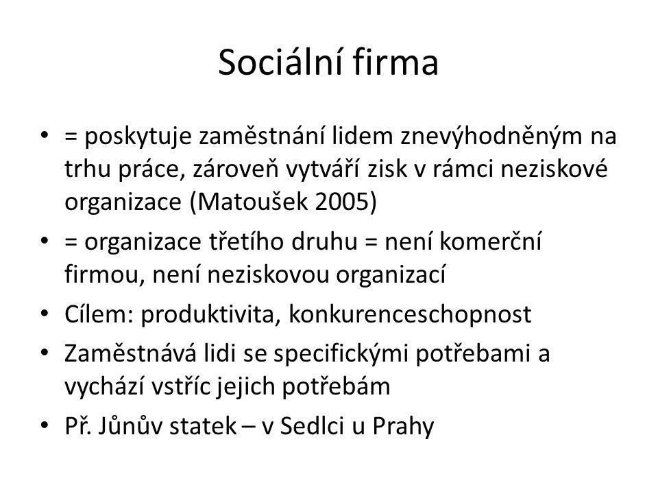 Sociální firma = poskytuje zaměstnání lidem znevýhodněným na trhu práce, zároveň vytváří zisk v rámci neziskové organizace (Matoušek 2005)