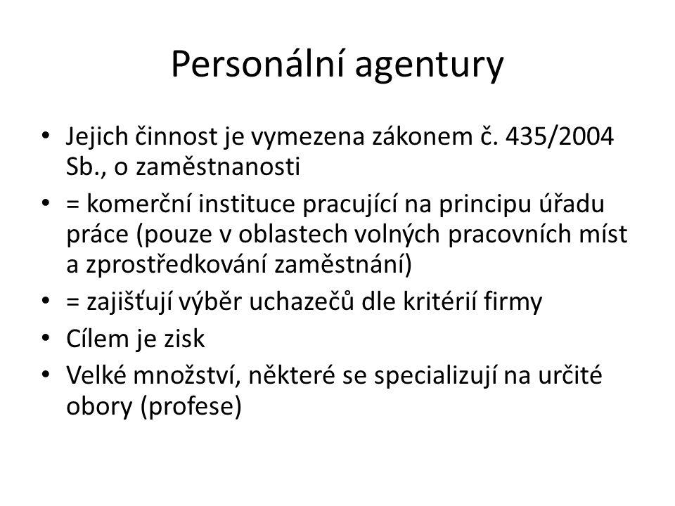 Personální agentury Jejich činnost je vymezena zákonem č. 435/2004 Sb., o zaměstnanosti.