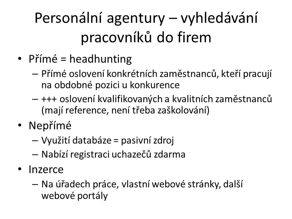 Personální agentury – vyhledávání pracovníků do firem