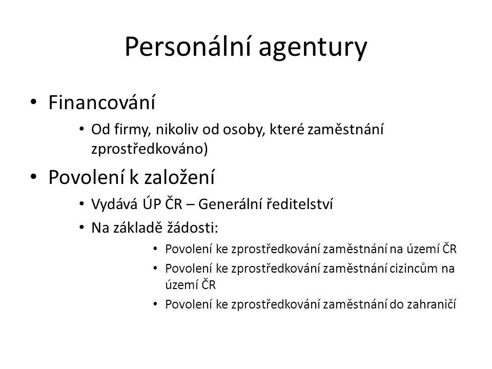 Personální agentury Financování Povolení k založení