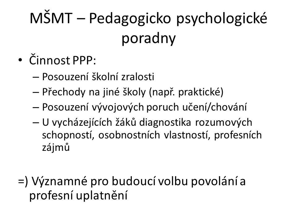 MŠMT – Pedagogicko psychologické poradny