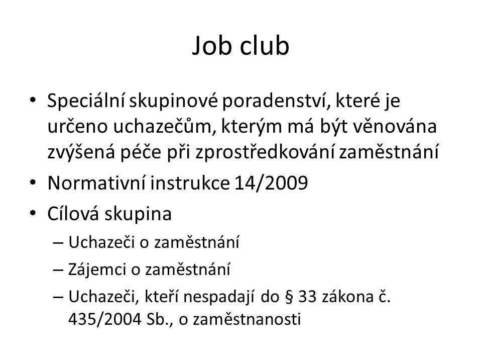 Job club Speciální skupinové poradenství, které je určeno uchazečům, kterým má být věnována zvýšená péče při zprostředkování zaměstnání.