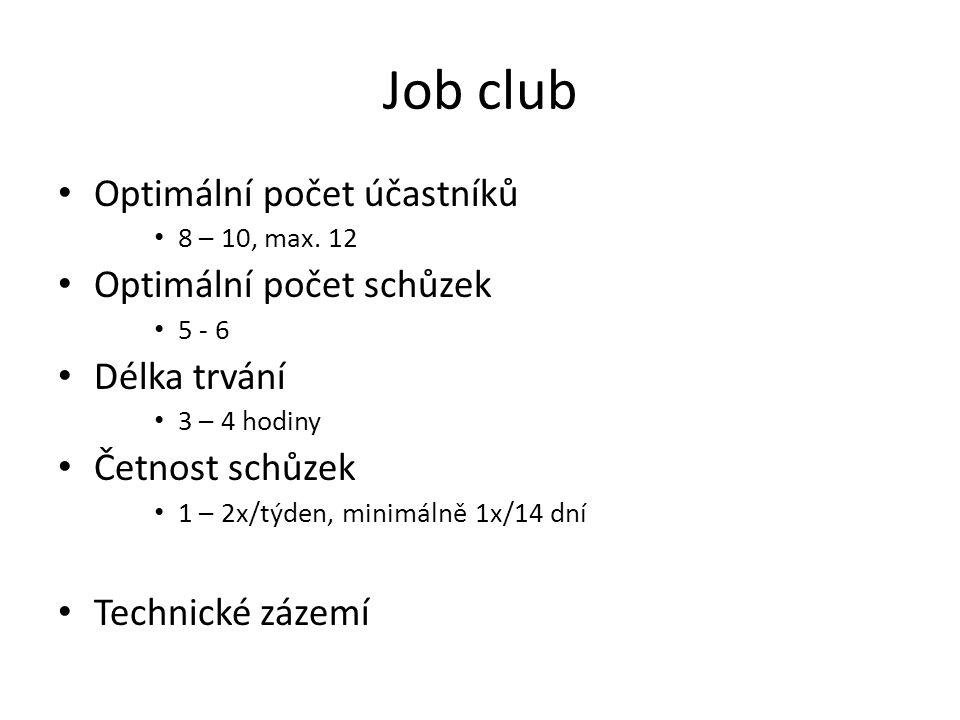 Job club Optimální počet účastníků Optimální počet schůzek
