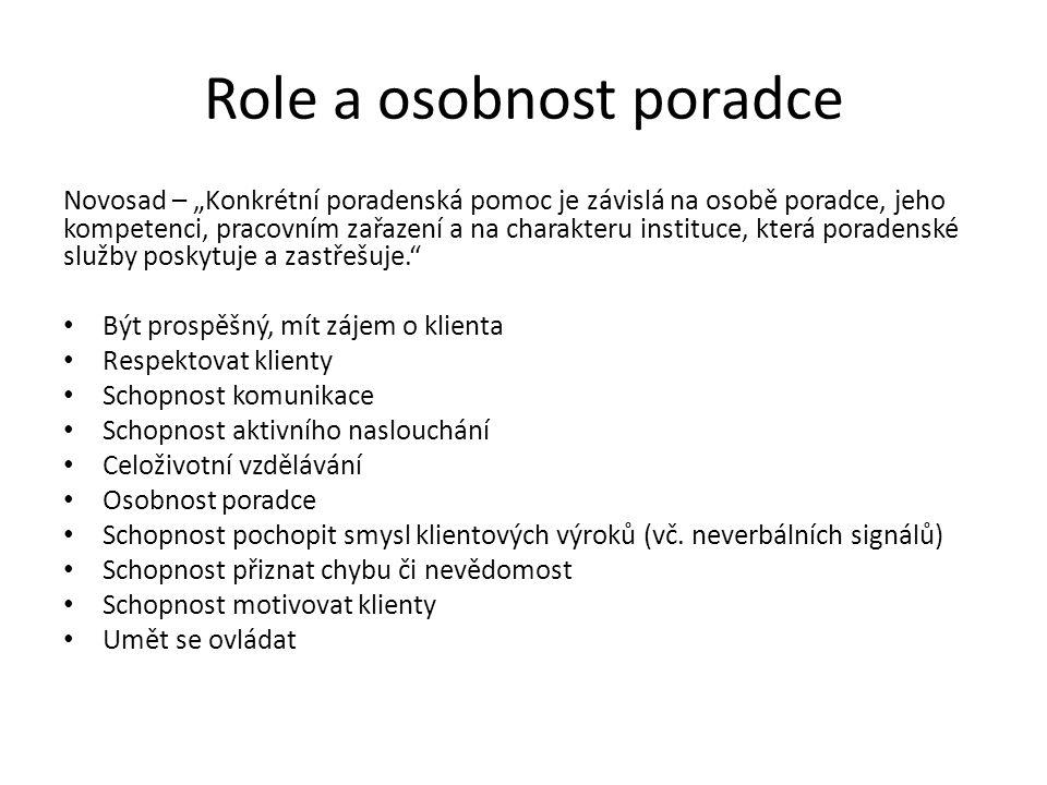 Role a osobnost poradce