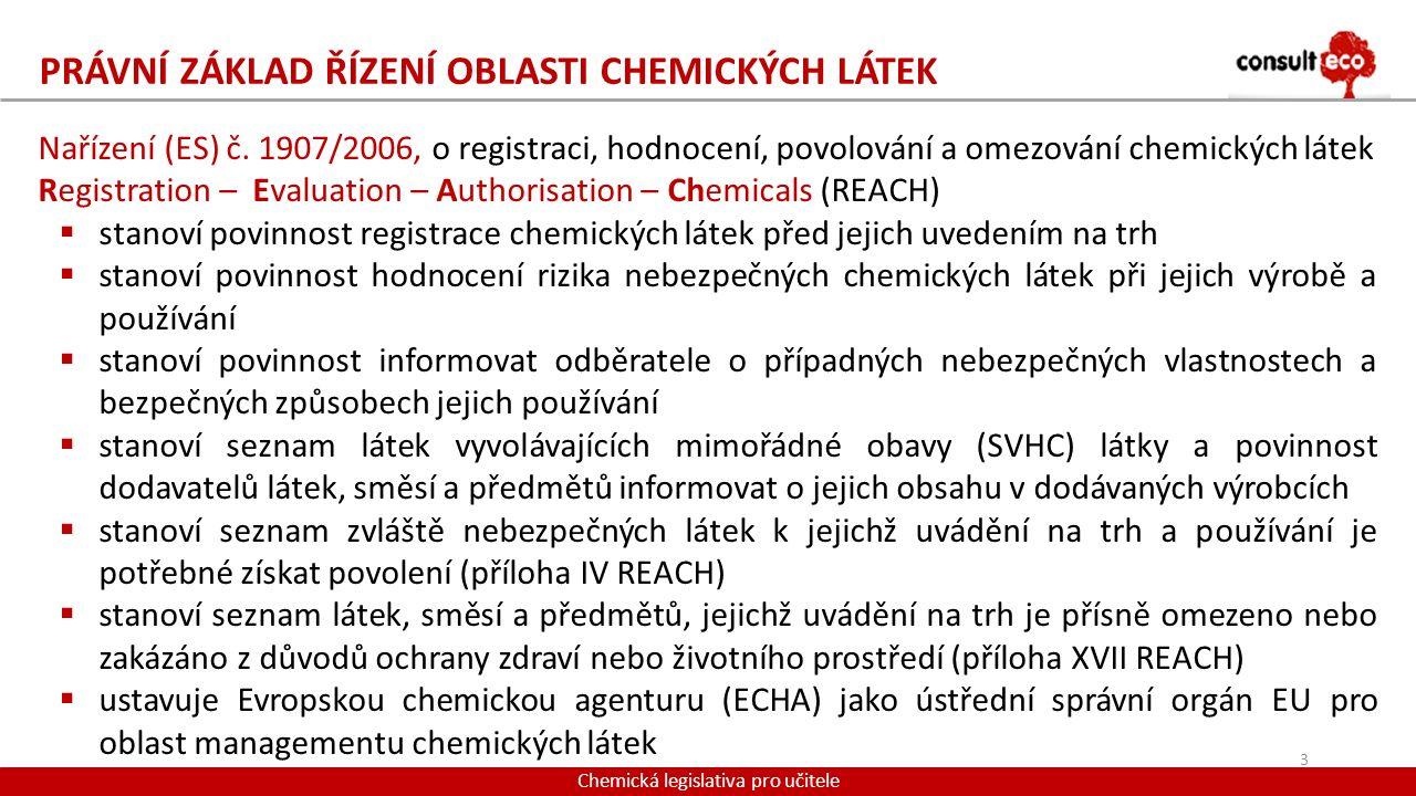 PRÁVNÍ ZÁKLAD ŘÍZENÍ OBLASTI CHEMICKÝCH LÁTEK