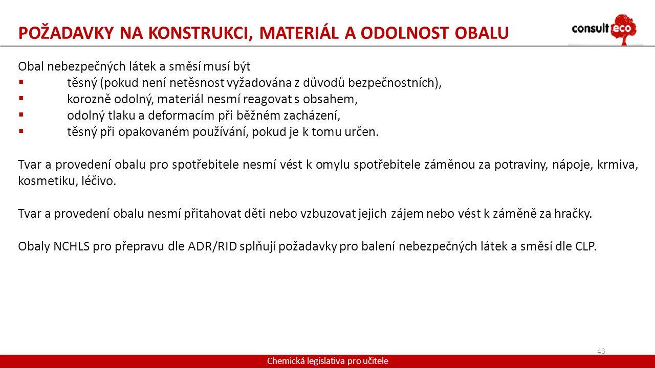 Požadavky na konstrukci, materiál a odolnost obalu