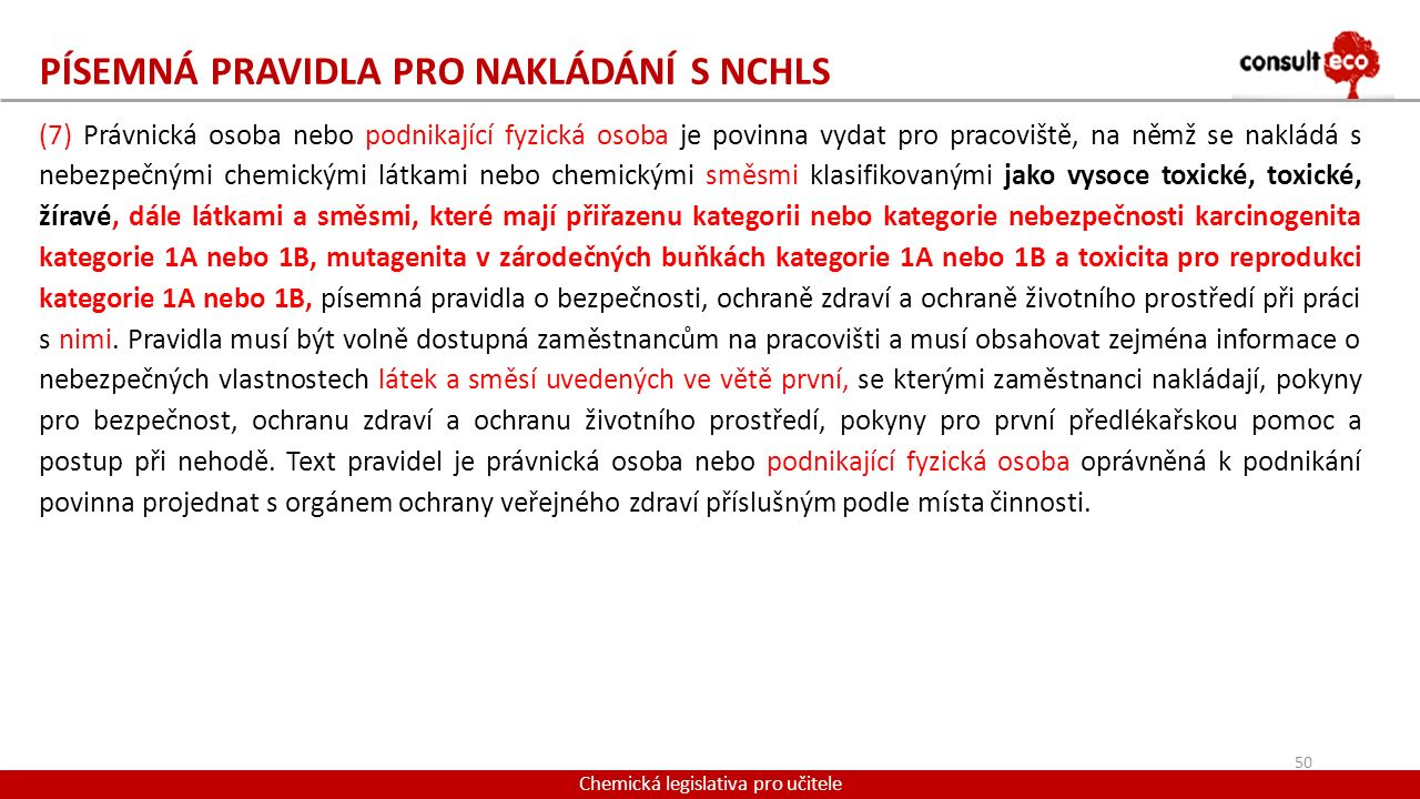 Písemná pravidla pro nakládání s NCHLS