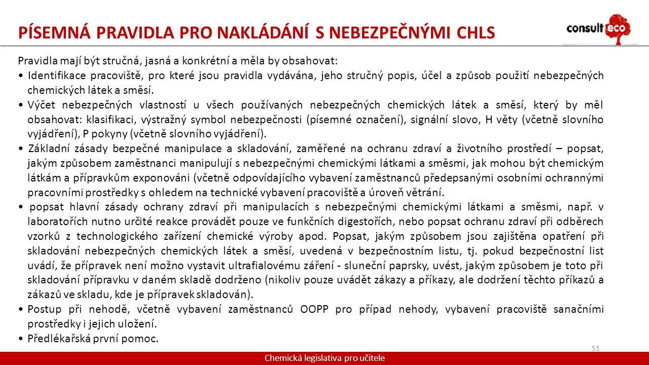 Písemná pravidla pro nakládání s nebezpečnými CHLS