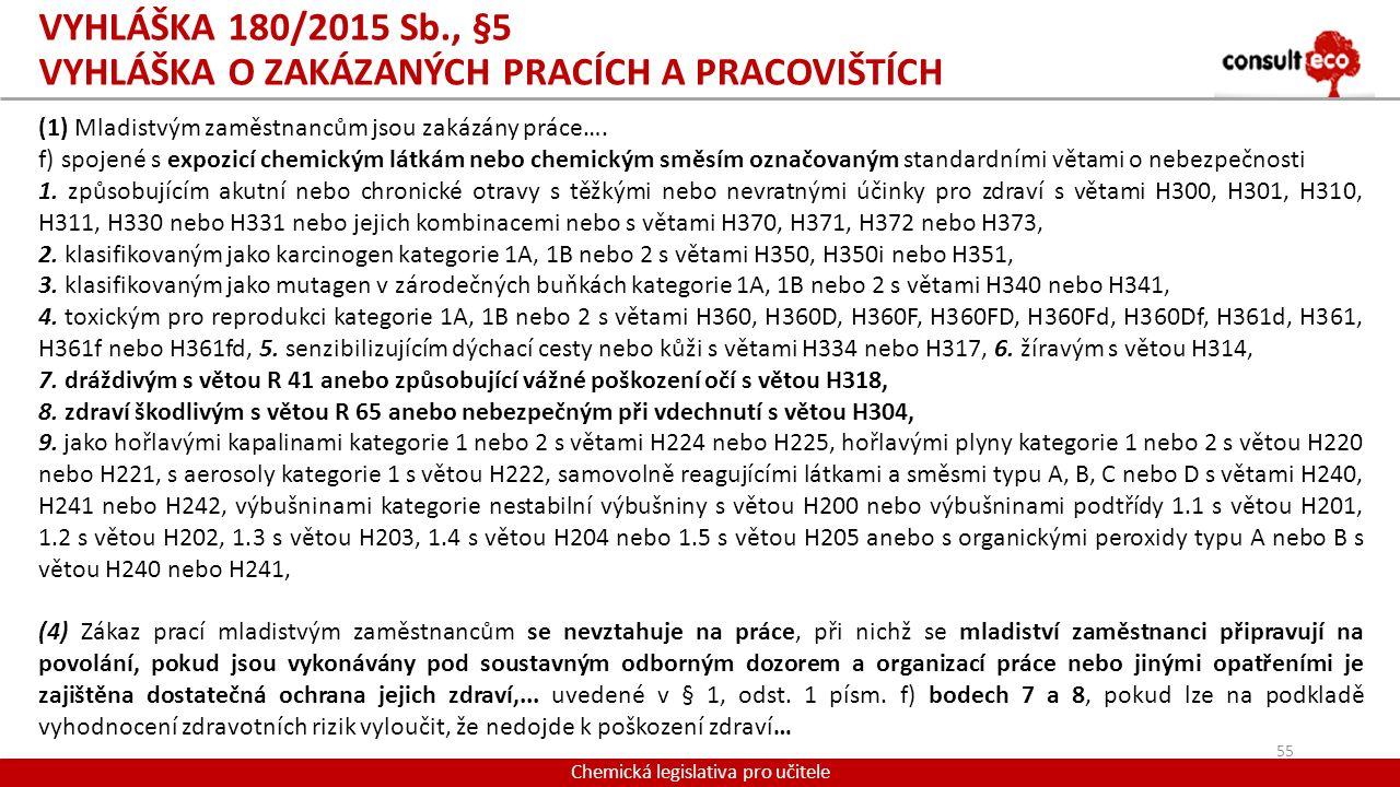 Vyhláška 180/2015 Sb., §5 vyhláška o zakázaných pracích a pracovištích