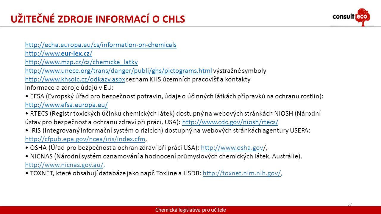 Užitečné zdroje informací o CHLS
