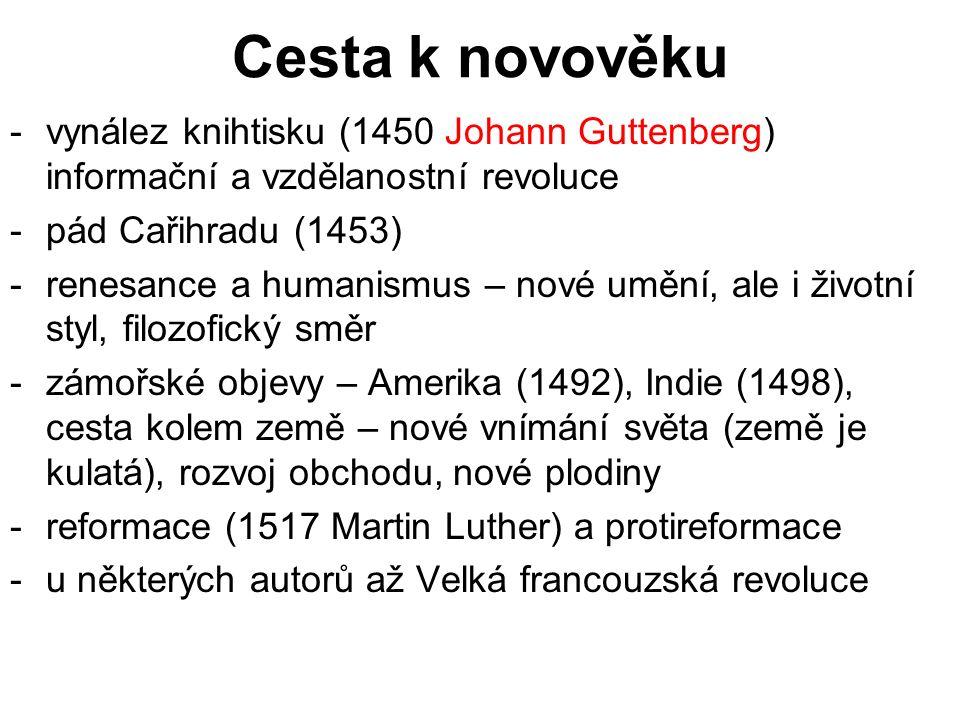 Cesta k novověku vynález knihtisku (1450 Johann Guttenberg) informační a vzdělanostní revoluce. pád Cařihradu (1453)