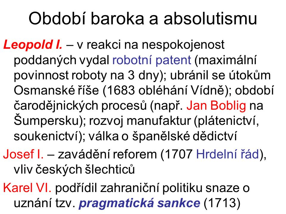 Období baroka a absolutismu