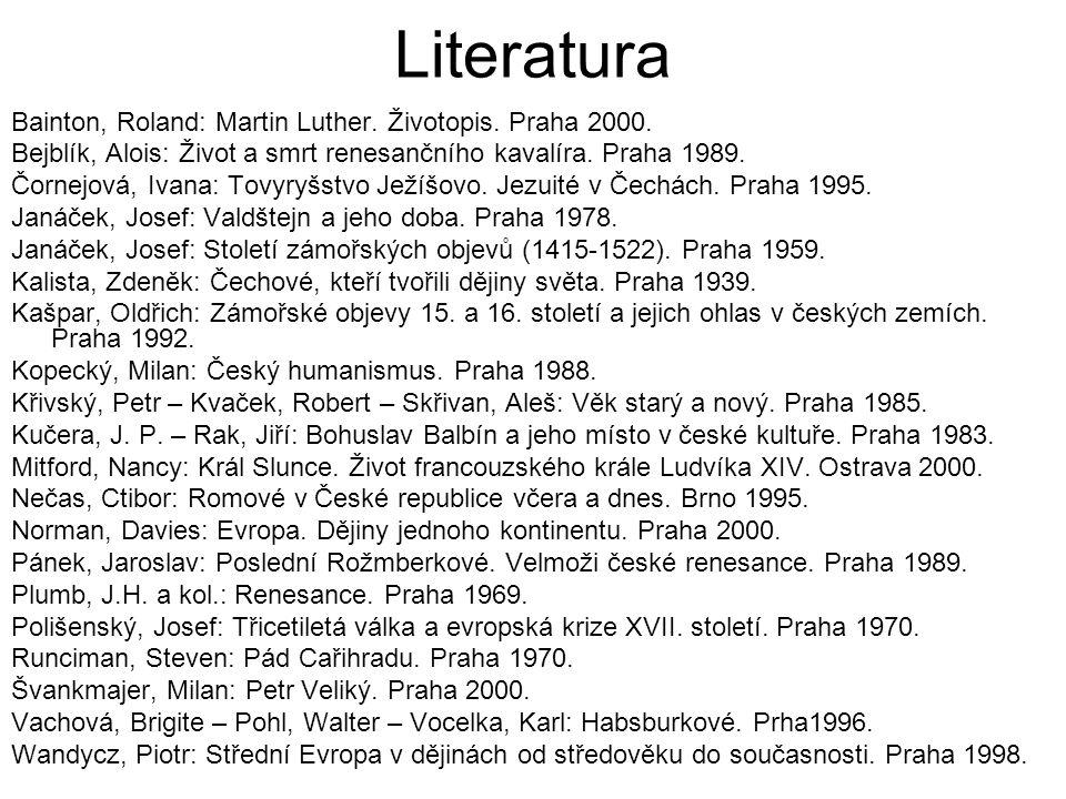 Literatura Bainton, Roland: Martin Luther. Životopis. Praha 2000.