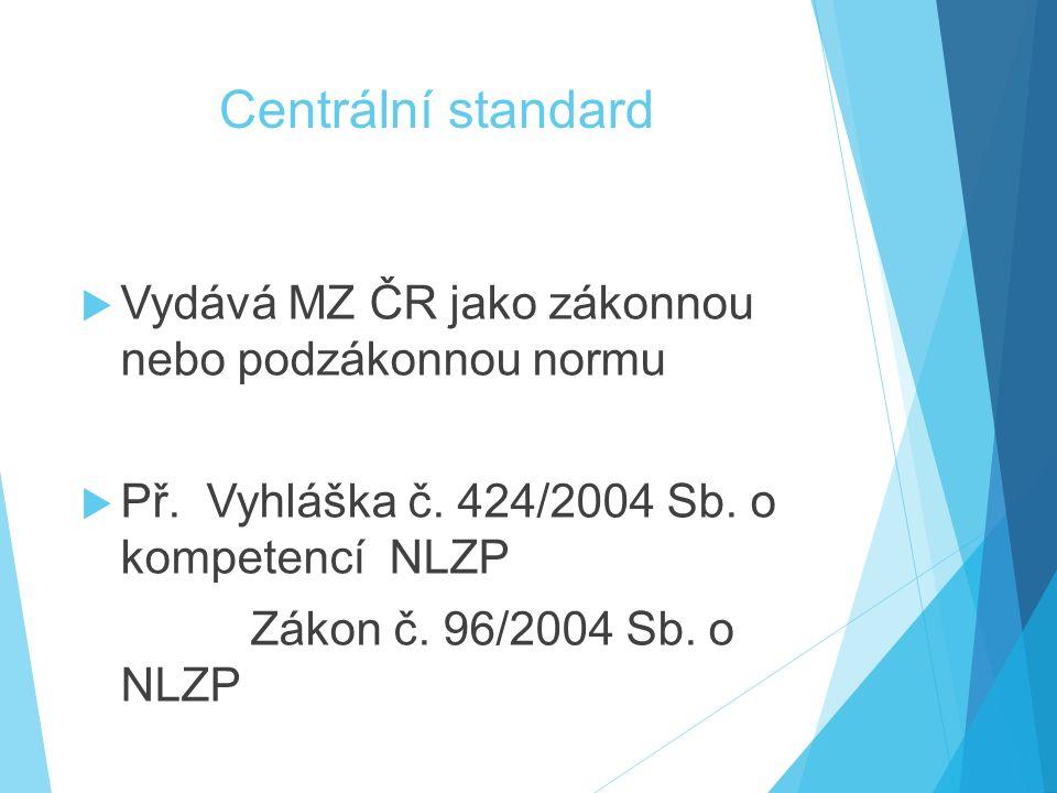 Centrální standard Vydává MZ ČR jako zákonnou nebo podzákonnou normu