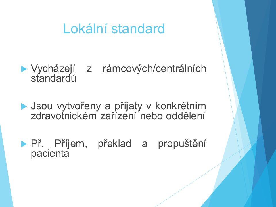 Lokální standard Vycházejí z rámcových/centrálních standardů