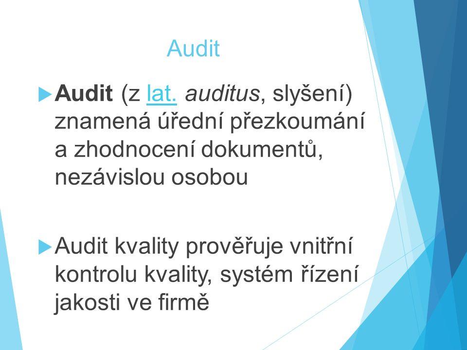 Audit Audit (z lat. auditus, slyšení) znamená úřední přezkoumání a zhodnocení dokumentů, nezávislou osobou.