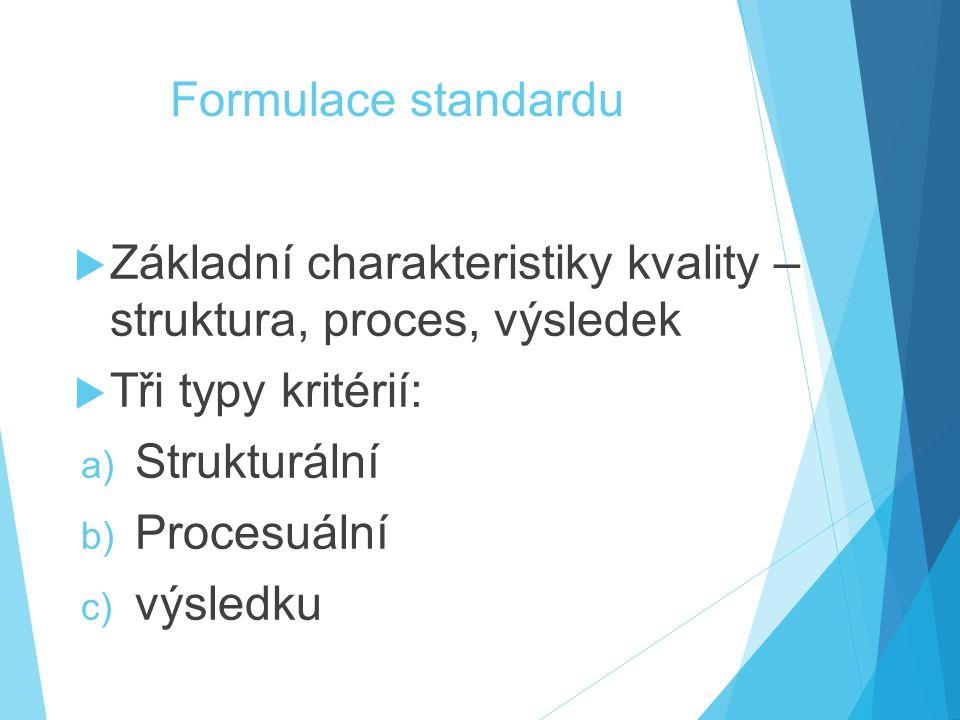 Formulace standardu Základní charakteristiky kvality – struktura, proces, výsledek. Tři typy kritérií: