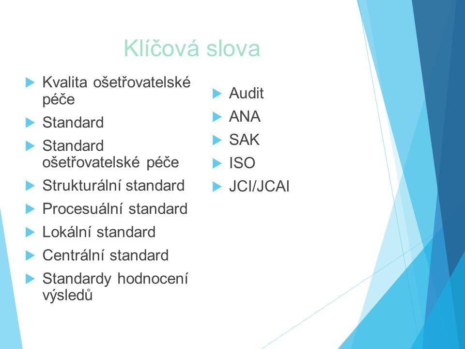 Klíčová slova Kvalita ošetřovatelské péče Audit Standard ANA